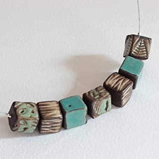 Collana in Ceramica con piccoli cubi azzurri e verdi, smalti lucidi in toni naturali