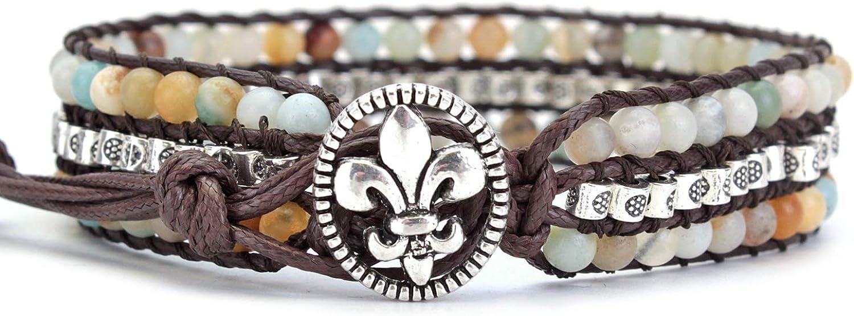 PANYSILVER Women Max 67% OFF Wrap Seattle Mall Bracelet Jasper Br Healing Beaded Gemstone