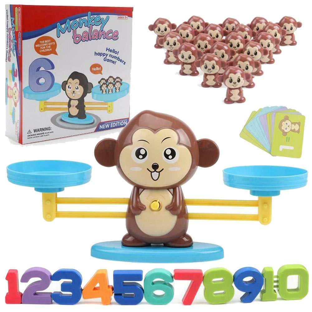 Tincocen Mono Balance Matemáticas Juego, Mono/Cerdo/Perro de Juguete Balance Cool Matemáticas Mesa Juego Aprendizaje Contar Números Diversión Educativo Regalo para Chicas Chicos - Marrón Mono: Amazon.es: Hogar
