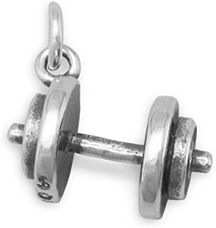 925 Sterling Silver 3D Barbell Weight Lifting Euro Bead Charm