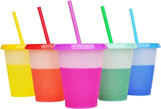 16oz Color changing cups Plastic cups Reusable with lids and straws,Color changing stadium cup Coffee cup Party Cup Summer...
