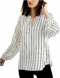 Alfani. Striped Henley Top White XL