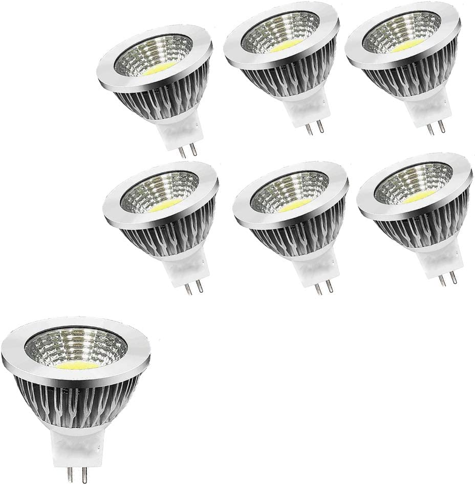 OUGEER 6 bombillas LED GU5.3 MR16 AC85 – 265 V, luz blanca fría, 6000 K, 6 W, 60 W, MR16, 6 W, casquillo GU5,3, sin parpadeo, 50 mm de diámetro, aluminio, no regulable