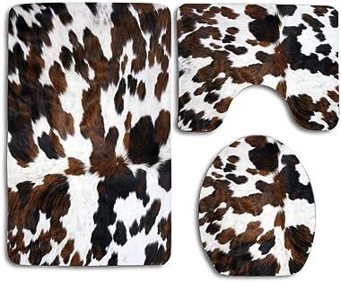 CoolSomeJies Bath Mat, Cowhide Tan Black and White Texture Bathroom Carpet Rug Non-Slip 3 Piece Toilet Mat Set Floor Mat Home
