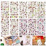 HOWAF 10 Feuille Noël Autocollantes Stickers pour Enfants, Paillettes Gomettes Autocollantes Bricolage Scrapbooking Stickers pour Enfants Noël Artisanat Activités Récompense Cadeaux Favor, 670pcs+