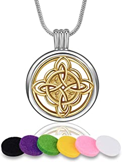 INFUSEU Essential Oil Diffuser Necklace Two Tone Women Aromatherapy Jewelry with 12 PCS Refill Felt Pads, Celtic Knot Cross Tree of Life Rose Flower