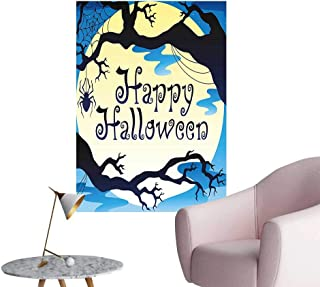 Wall Decoration Wall Stickers Happy Halloween Quote Spooky Night Branch Shadows Haunted Lights Print Artwork,28