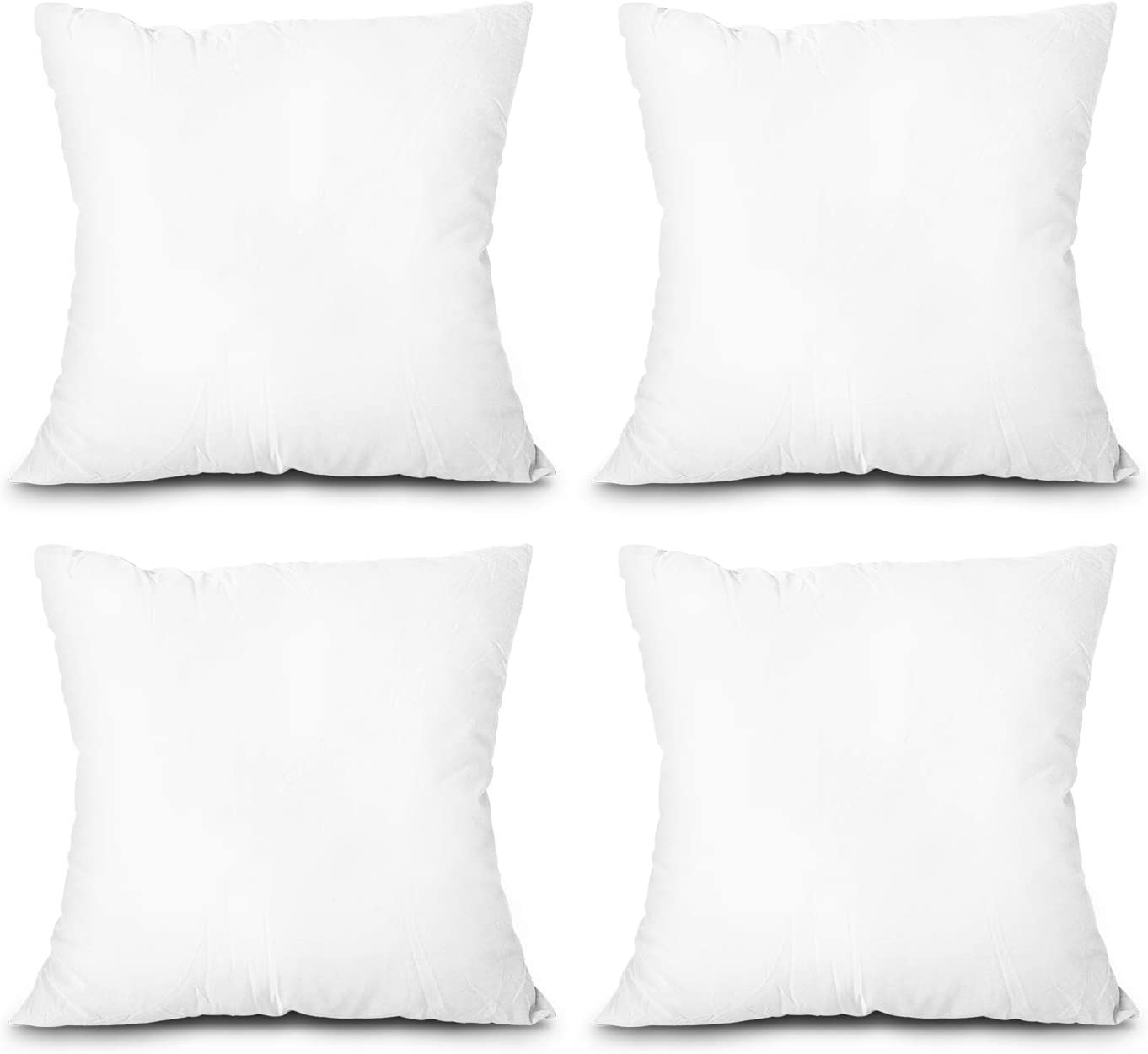 EDOW Throw Pillow Inserts, Set of 4 Lightweight Down Alternative Polyester Pillow, Couch Cushion, Sham Stuffer, Machine Washable. (White, 20x20)