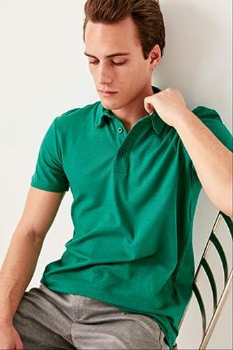 LFNANYI T-Shirt en Coton à Manches Courtes - T-Shirt en Coton pour Hommes Vert émeraude - T-Shirts Manches Courtes