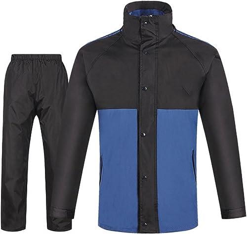 Zgsjbmh Imperméable Homme Costume extérieur imperméable Fendu de Couleur Bleue et Noire pour des Hommes et des Femmes imperméable Unisexe pour Les activités de Plein AI