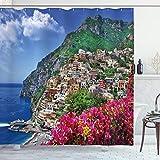 ABAKUHAUS Italia Cortina de Baño, Positano Amalfi Nápoles, Material Resistente al Agua Durable Estampa Digital, 175 x 200 cm, Azul Verde Rosa