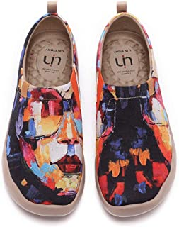UIN Women's Flats Canvas Lightweight Slip Ons Sneakers Walking Casual Art Painted Travel Shoes Artwork in Progress