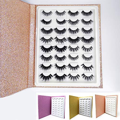 Libro de almacenamiento de pestañas, 16 pares de pestañas de maquillaje, muestra de muestras, catálogo de pestañas, papel brillante