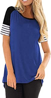 Striped Print Blouse for Women Short Sleeve T Shirt Patchwork Top Summer Casual Color Block Tunic
