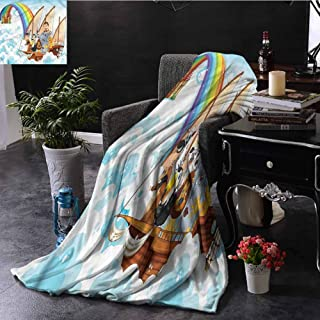 Children Sherpa Throw Blanket Noahs Ark in Clouds Livingroom Couch Bed Camping Picnic W70 xL84