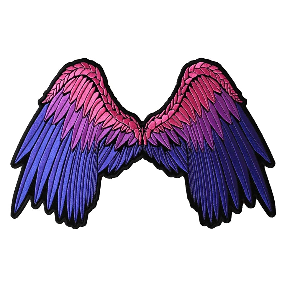 Angel Wings Beautifully Embroidered In Pink and Purple Large Back Patch - 11x7 inch. Embroidered Iron on Patch
