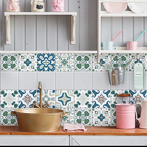 Adesivi per piastrelle bagno e cucina 12 Pz 20x20 cm - PS00073 Made in Italy - Mattonelle autoadesive in PVC impermeabili antigraffio Wall stickers cementine peel and stick