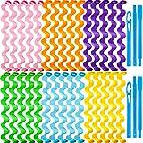 30 Rizadores de Cabello Kit de Rulos de Pelo Espirales Rodillos de Pelo sin Calor Rizadores Espirales Rulos de Cabello Estilos de Onda con 2 Ganchos de Peinado (45 cm, Color Mixto)