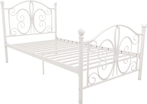 DHP 3246098 Vintage Design Bombay Bed Frame With Metal Slats Twin White