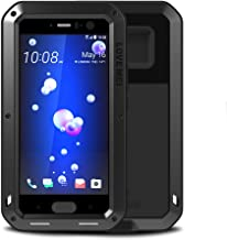 Feitenn HTC U11 Case, Hybrid Armor Alloy Aluminum Metal Bumper Case Gorilla Glass Soft Rubber Military Heavy Duty Shockproof Hard Water resistant Case For HTC U11 (Black)