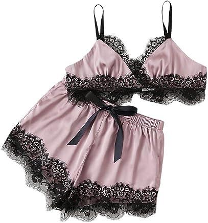 8c4541a24 DIOMOR Women Sleepwear Sleeveless Strap Nightwear Lace Sexy Dress Trim  Satin Top Pajama Sets Valentine s Day