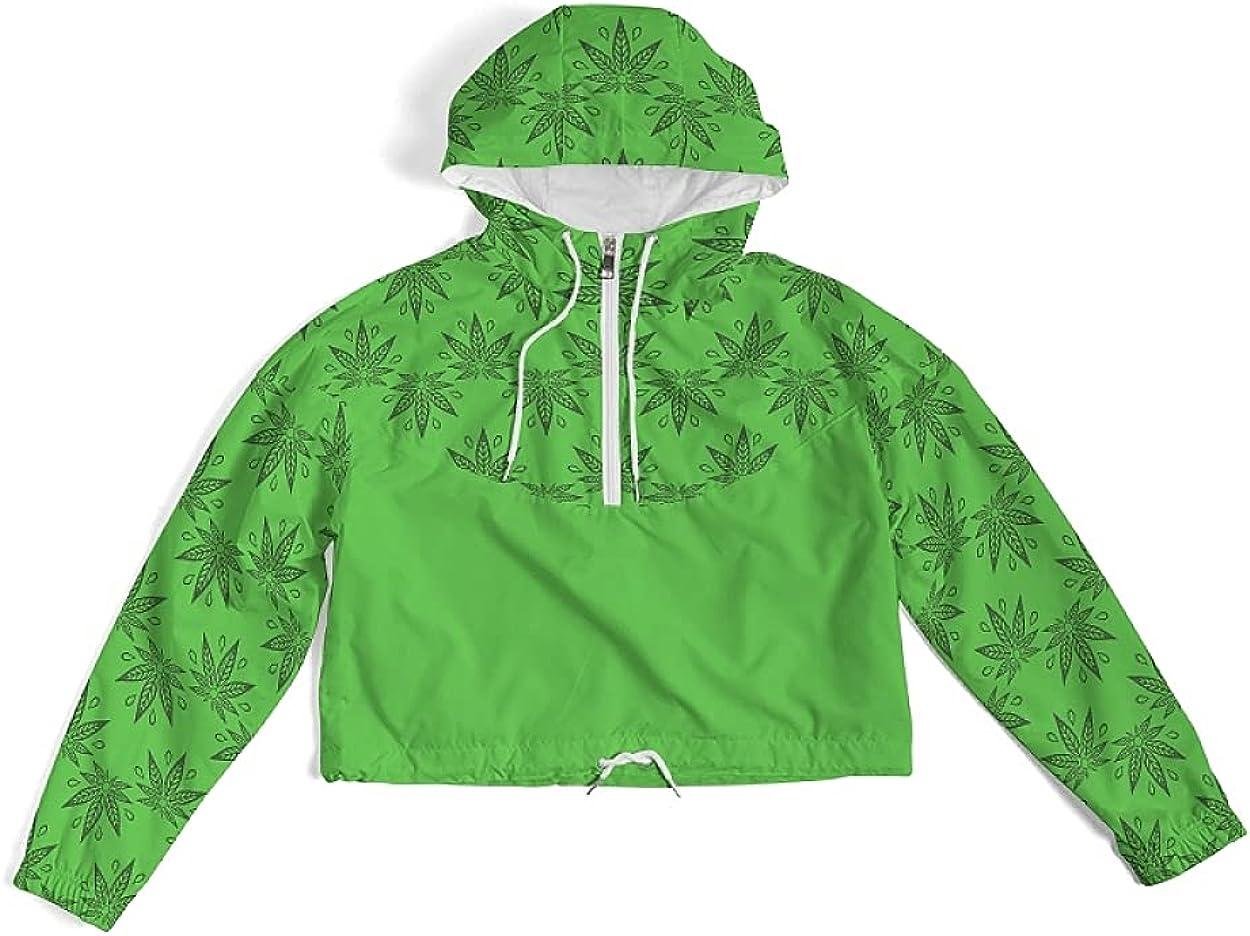 Women's Cropped Windbreaker Jacket Crop Top Lightweight Long Sleeve Half Zip Pullover Everyday Casual Hoodie