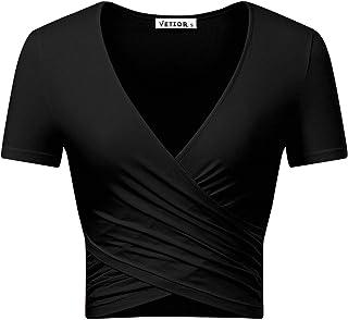 a62a549b VETIOR Women's Deep V Neck Short Sleeve Unique Slim Fit Coss Wrap Shirts  Crop Tops