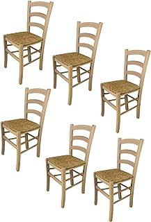 t m c s Tommychairs - Set 6 sillas Venezia para Cocina y Comedor, Estructura en Madera de Haya lijada, no tratada, 100% Natural y Asiento en Paja