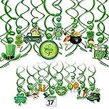 HOWAF 30 Pièces Saint Patrick Decoration Suspension à Suspendre Vert Chanceux Trèfle Lutin Guirlande Plafonds tourbillons pour Décoration de Fête Irlandaise St. Patrick's Day