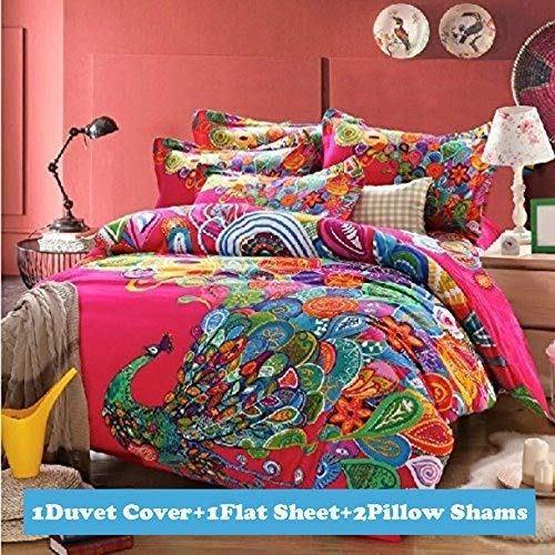 Boho Style Colorful Peacock Feather Animal Prints Bedding Set