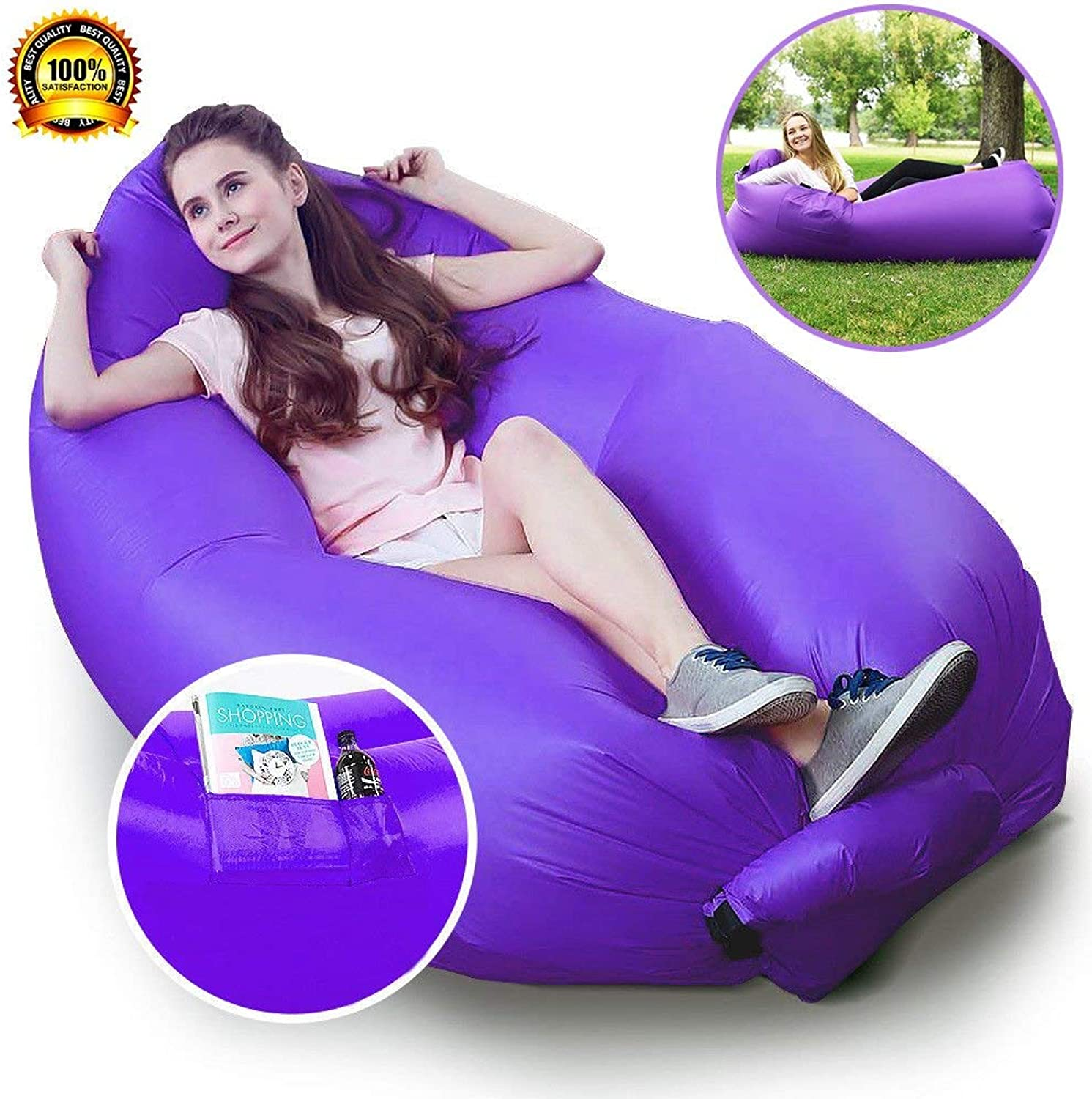 SYF Inflatable Hammock Lounger Air Sofa Hangout Couch Lounger Bag with Carrying Bag Waterproof Nylon Air Chair for Indoor Outdoor Camping Picnics A+ (color   Purple)