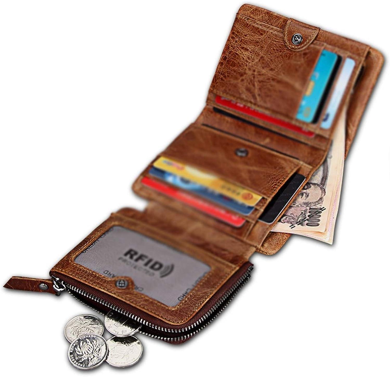 Sakuldes Herren Brieftasche aus echtem Leder RFID Sperrung Geldbörse Trifold Krotitkarte Clutch (Farbe   braun) B07Q232SLP
