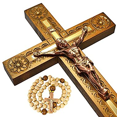 Nice Wall Crucifix of Jesus Christ - Carved Catholic Wooden Cross - 12.5 inches