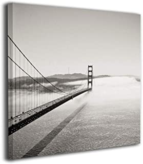Jaylut Square Frameless Painting Print Artwork Golden Gate Bridge Drawing Picture Wall Decor for Home Office 12