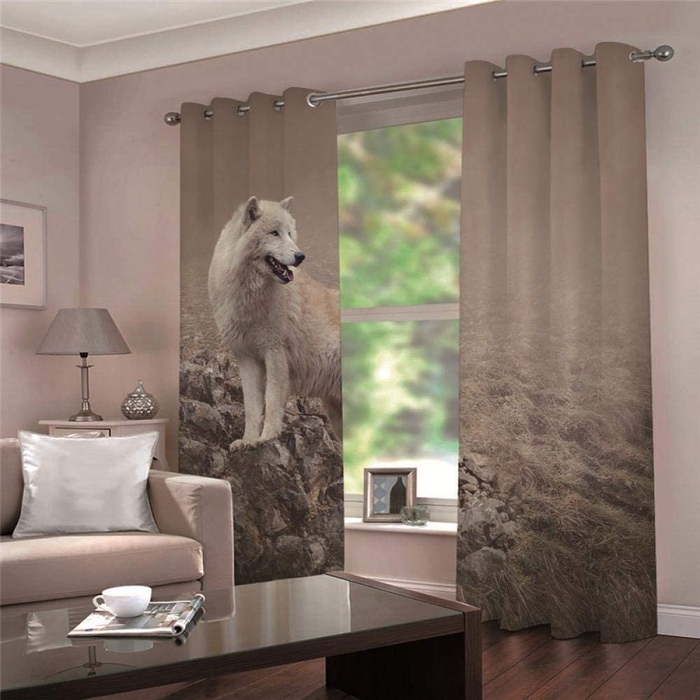 ZCLCHQ shopping trust 3D Curtain for Bedroom Curt Wolf Animals Darkening Room