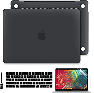 Batianda MacBook Pro 16 inch Case 2019 Release Model A2141, 4in1 Matte Frosted Hard Shell Case with Keyboard Cover with Screen Protector (Black)