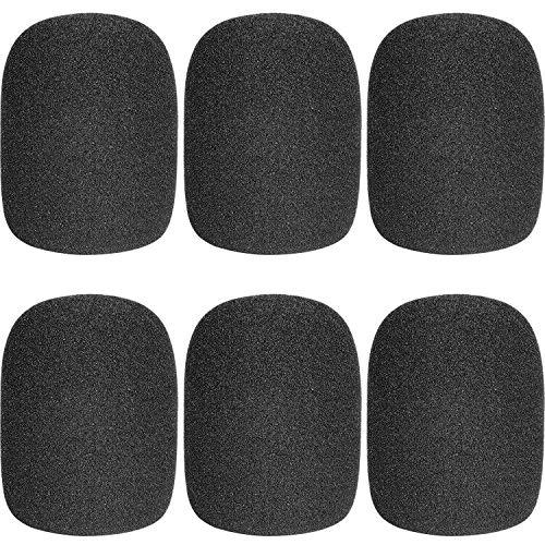 ChromLives Funda de espuma Micrófono Cubierta Micrófono Parabrisas Espuma Cubierta de micrófono Negro Top Grado Paquete de 6