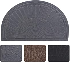 (Gray) - Half Round Door Mat Entrance Rug Floor Mats, Waterproof Floor Mat Shoes Scraper Doormat, 46cm x 80cm Patio Rug Di...