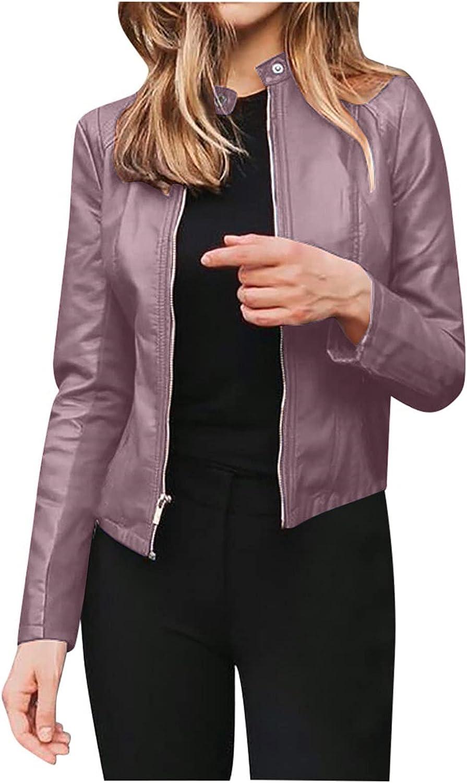 Akklian Women's Faux Leather Jackets, Slim Motorcycle Biker Coat Short Lightweight Vegan Pleather Streetwear Outerwear Jacket