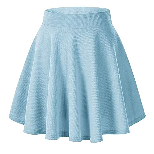 ee445ea60a Moxeay Women's Basic A Line Pleated Circle Stretchy Flared Skater Skirt