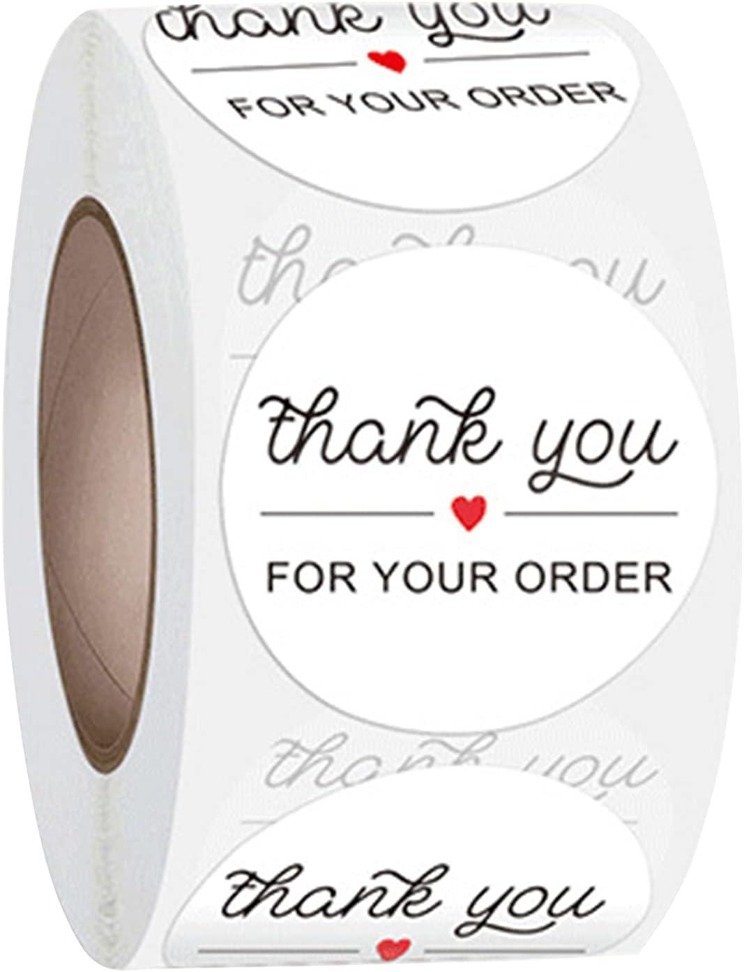 Sticker roll, Business Sticker, Envelope Sticker, Packaging Bag Sticker, Box Sticker, Sealing and Decorative Sticker Gift, 500 Labels per roll (White+Black)