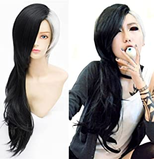 Anogol Hair Cap+ Japanese anime Long Black and White Wig Cosplay Wig (Long)
