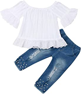 Toddler Baby Girl Fashion Clothes Off Shoulder Ruffle Sleeve Lace Shirt Top Ripped Jeans Pearl Outfits Set