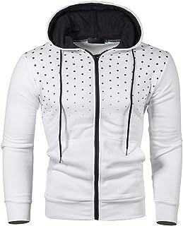 Felpe con Cappuccio Uomo Pullover Sweatshirt Maniche Lunghe Cerniera Tasche Felpa Sportive Autunno Patchwork Top Tee Outwe...