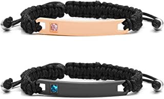 Jovivi Personalized Custom Stainless Steel Handmade Braided Rope Nameplate ID Bracelet His and Hers Matching Couples Bracelets Valentine`s Gift for Lover