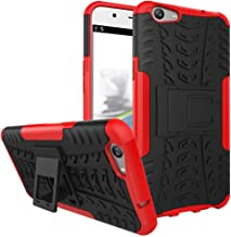 Ikwcase OPPO F1s Case, Heavy Duty Armor Tough Hybrid Shockproof Dual Layer Kickstand Protective Case Cover for OPPO A59 / OPPO F1s Red