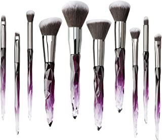 Kingtree Makeup Brushes Set, 10pcs Crystal Handle Professional Makeup Brushes Kabuki Powder Foundation Blush Concealer Eye Shadow Eyebrow Brush for Girls Ideal Beauty Tool for Women