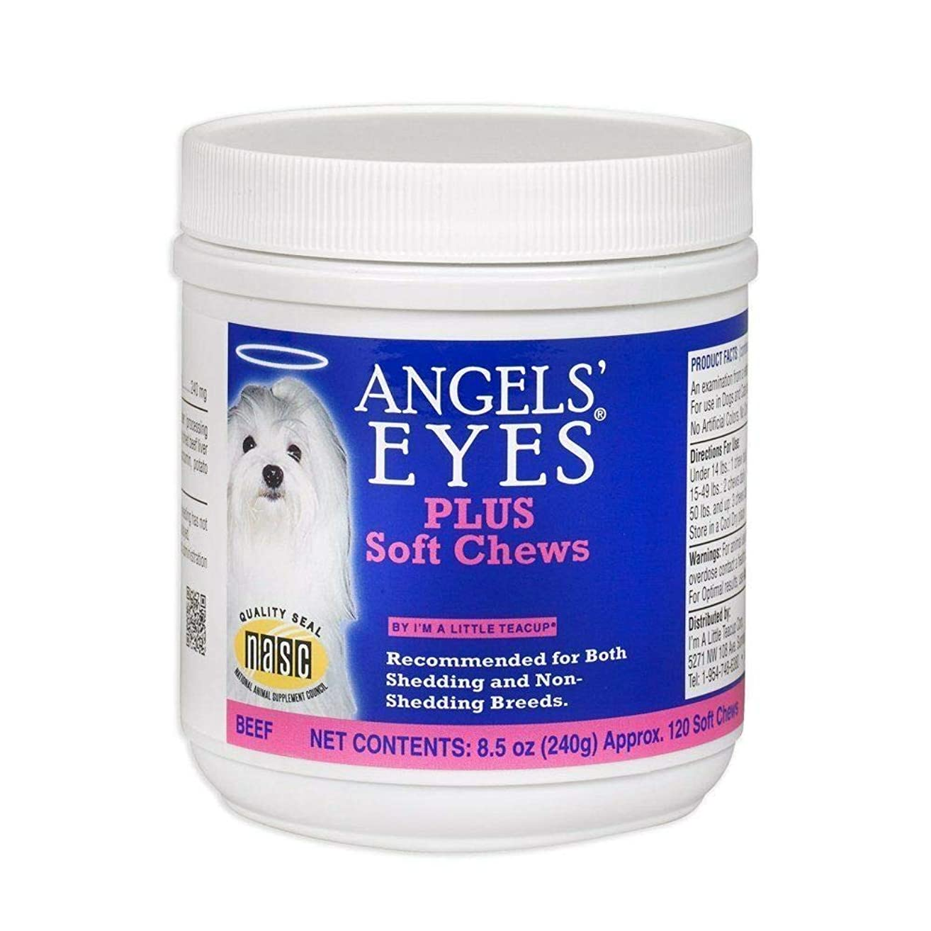 Angel's Eyes Soft Chew Beef Natural Tear Stain Remover for Dogs 120 Count (240g)