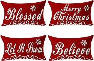 Pack Of 4 Happy Winter Merry Christmas Red Blessed Let It Snow Home Family Believe Cotton Linen Lumbar Waist Decorative Th...