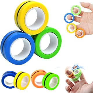 3 PCS Finger Magnetic Ring, Magnet Toy, Magnetic Fingertip Toys, Magnetic Game, Magic Toy,Decompression Magnetic Magic Rin...